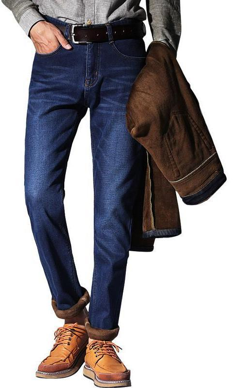 Mens Winter Warm Fleece Flannel Lined Stretch Black Blue Denim Trousers Pants-JEANS-SheSimplyShops