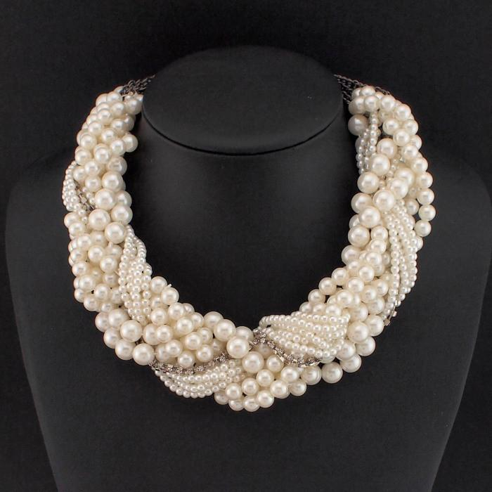 Handmade Chunky Imitation Pearl Necklace Fashion Rhinestones Collar Chokers Necklaces-NECKLACES-SheSimplyShops