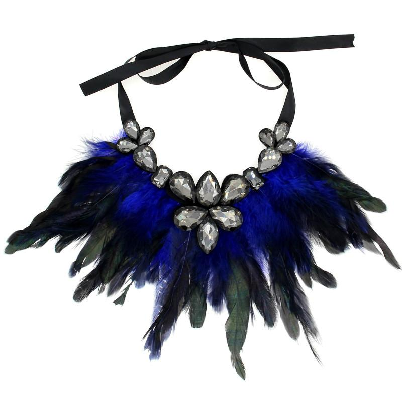 Feather Collar Necklace Boho Jewelry Glass Imitation Gems Big Choker Statement Necklace & Pendant-NECKLACES-SheSimplyShops