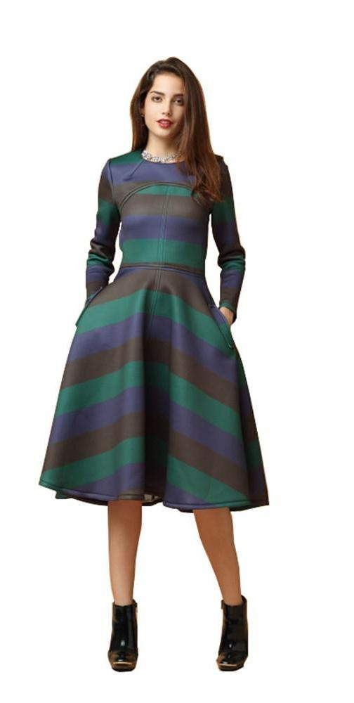 HDY Haoduoyi Multi Color New Fashion Women Dress Vintage Backless Zipper O Neck A-line Dress Sexy Striped Women Party Dress-Dress-SheSimplyShops