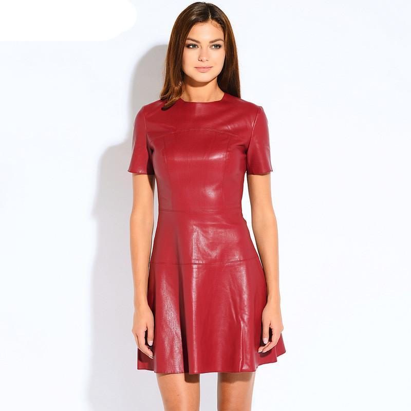 Stylish Leather A-Line O-Neck Dress-Dress-SheSimplyShops
