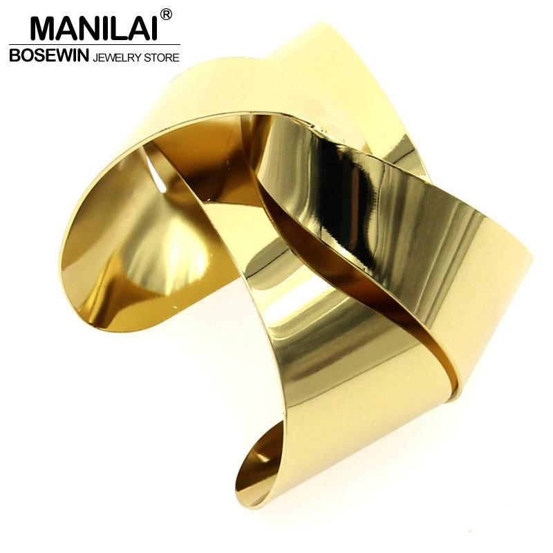 Unique Design Warp Surface Alloy Opened Cuff Bangles Bracelets For Women Fashion Statement Jewelry Cuff Bracele-BRACELETS-SheSimplyShops