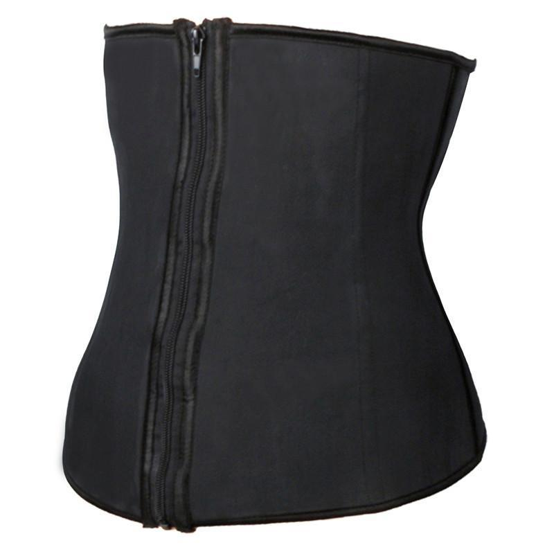 Hooks And Zipper Rubber Latex Waist Trainer Sexy Women Slimming Body Shaper Corsets Underbust Waist Cincher Corset Tops-Tops-SheSimplyShops