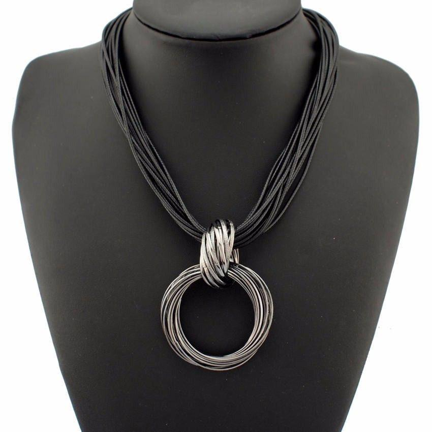 Cross Alloy Circle Pendant Lots of Black Leather Chain Necklaces Accessories Fashion Jewelry For Women-NECKLACES-SheSimplyShops