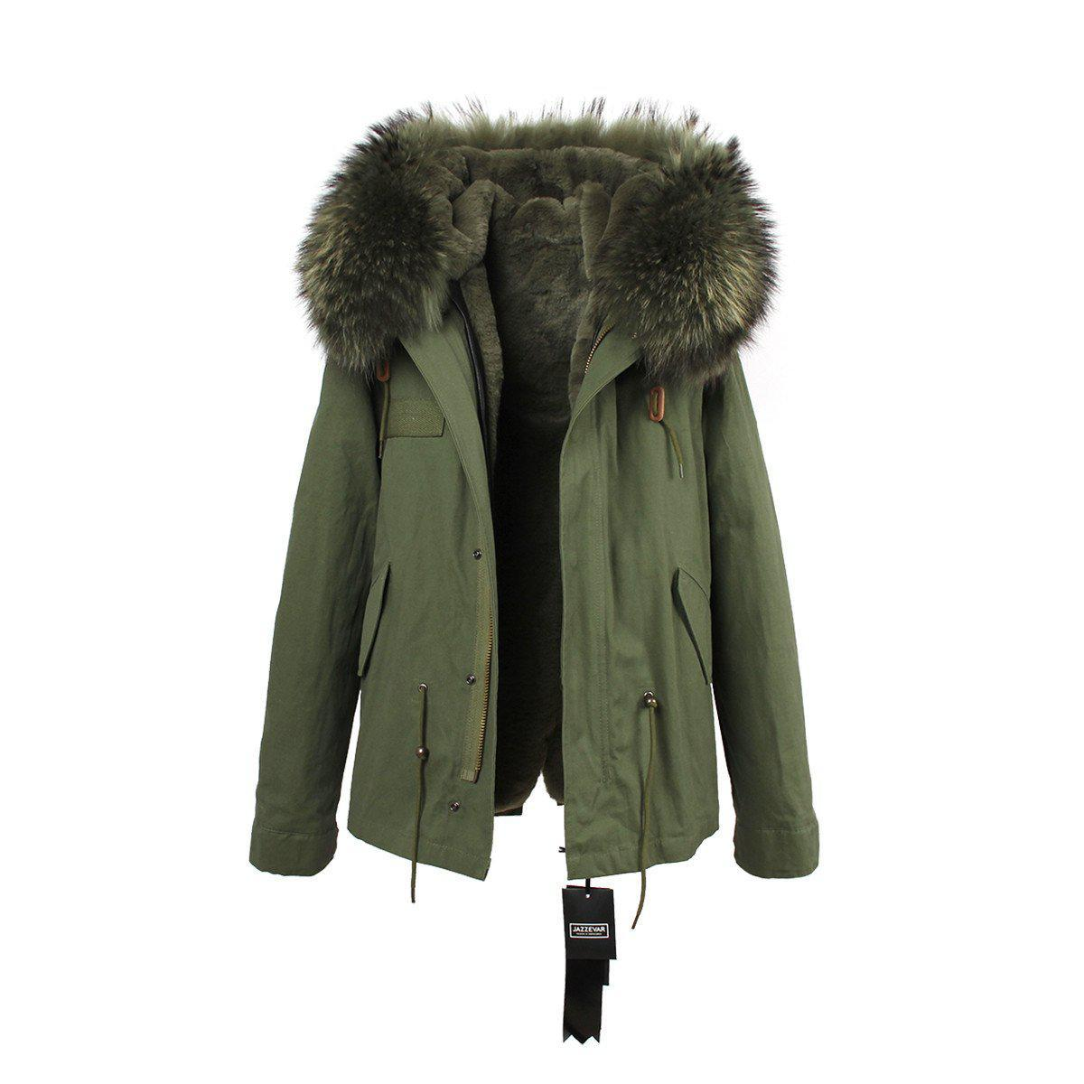Large raccoon fur collar hooded coat parkas outwear 2 in 1 detachable lining winter jacket-Coats & Jackets-SheSimplyShops