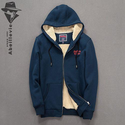 Cotton Zipper Men's Hoodies Winter Hooded Sweatshirt Men Thick Fleece Casual Men's Tracksuit Street hoodies-HOODIES-SheSimplyShops