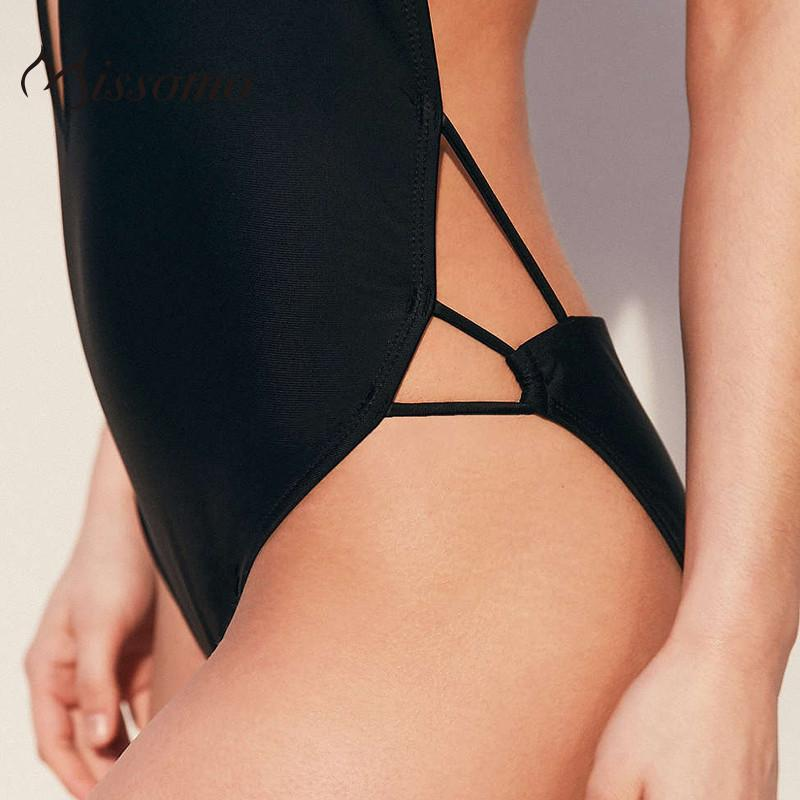 New Fashion Women Black Sexy Halter Strap BraletteCut Out Backless Fitted Solid Bodysuits-ROMPERS & JUMPSUITS-SheSimplyShops