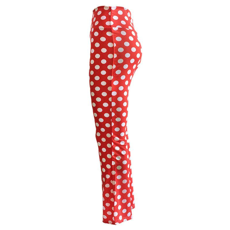 HDY Haoduoyi Autumn Women Fashion Slim Sexy High-waisted Casual Trousers Red Polka Dots Print Flared Bell Bottom Pants-PANTS-SheSimplyShops
