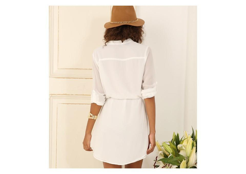 Women Chiffon Dress Fashion Elegant White Dress Plus Size Casual Clothing Evening Party Dress-Dress-SheSimplyShops
