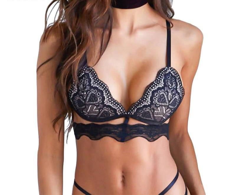 HDY Haoduoyi Black Sexy Lace Bralette Women Jacquard Trim Bralette Adjustable Wide Straps Bras Push Up Underwear Women Intimates-INTIMATES-SheSimplyShops