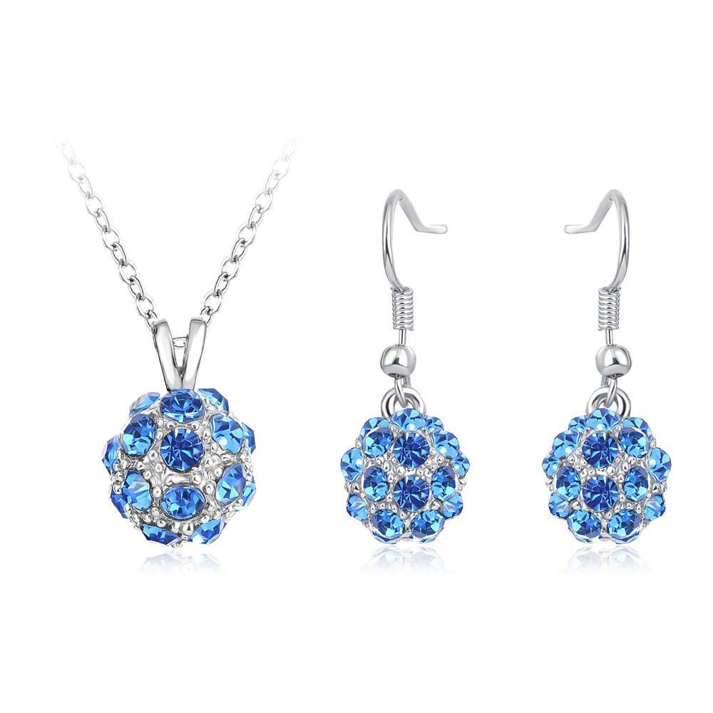 LZESHINE Fashion Women Wedding Jewelry Sets Gold /Silver Plated Rhinestone Ball Necklace Earrings Pendants Parure Bijoux Femme-EARRINGS-SheSimplyShops
