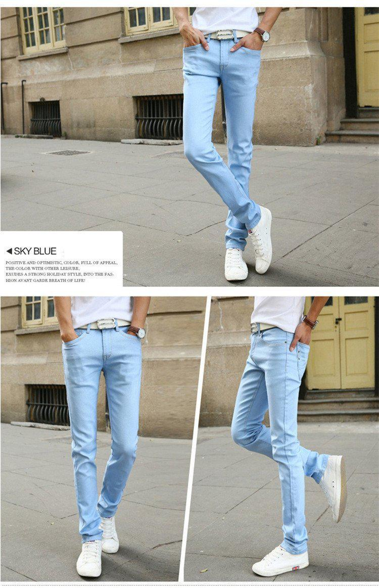 New Fashion Men's Casual Stretch Skinny Jeans Trousers Tight Pants Solid Colors-JEANS-SheSimplyShops