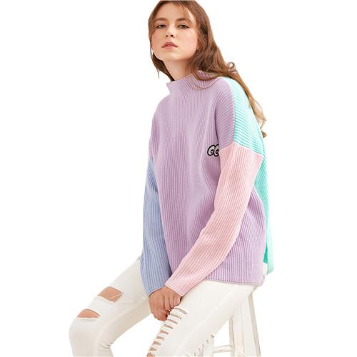 SheIn Women Sweaters and Pullovers Color Block Funnel Neck Eye Embroidered Stand Collar Long Sleeve Casual Loose Sweater-SWEATERS + CARDIGANS-SheSimplyShops