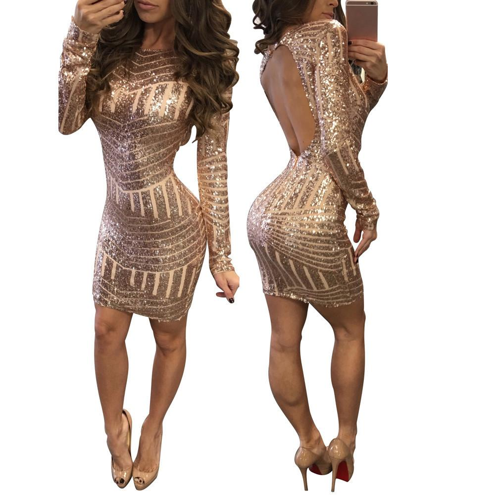 Sequined Backless Long Sleeve Dress-Dress-SheSimplyShops
