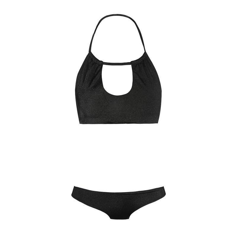 HDY Haoduoyi New Fashion Women Fitted Bra Sets Summer Beach Soft Panties Black Sexy Cut Out Bralettes Solid Black Bra Set-PANTS-SheSimplyShops