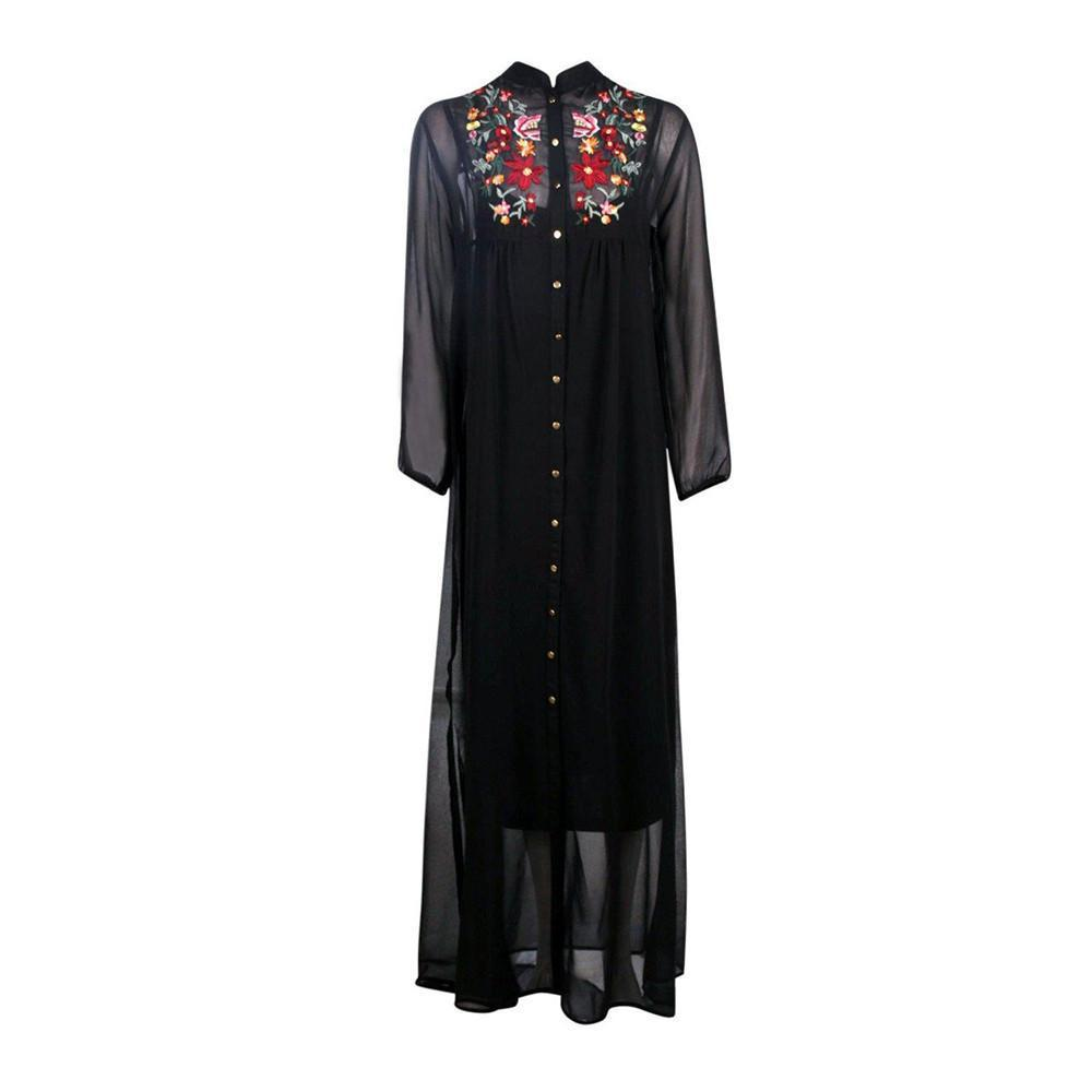 Embroidered Black Maxi Dress-Dress-SheSimplyShops