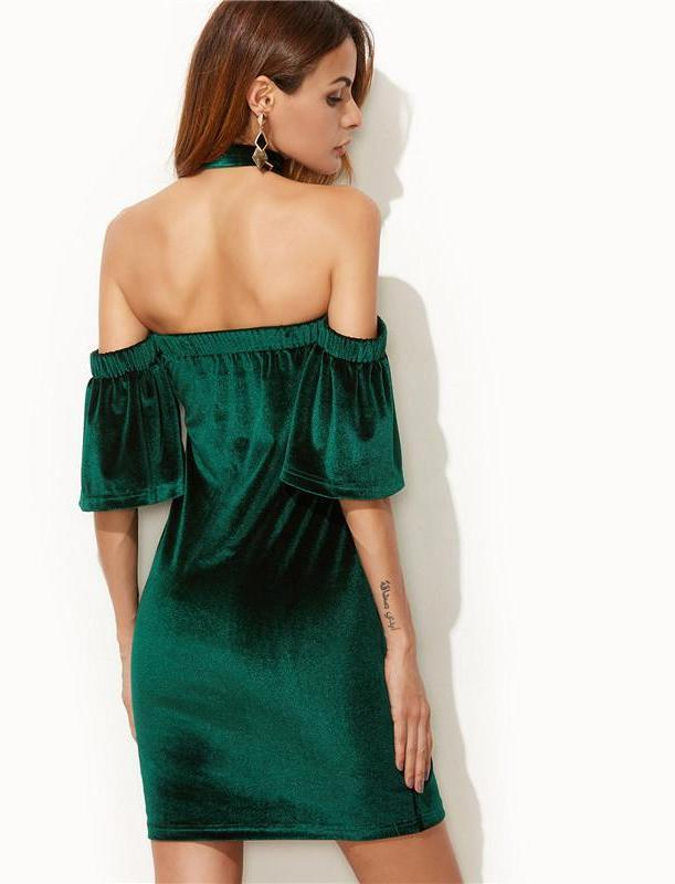 SheIn Spring Autumn Bodycon Dress Mini Party Dresses Dark Green Off The Shoulder Ruffle Sleeve Velvet Dress With Neck Tie-Dress-SheSimplyShops