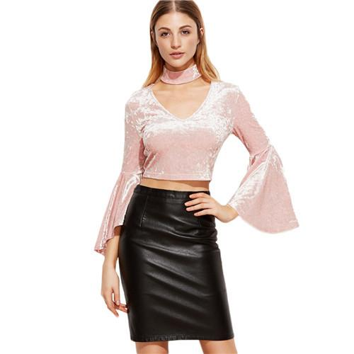 SheIn Blouse Women's Short Korean Fashion Clothing Pink Three Quarter Length Flare Sleeve Crop Velvet Top With Choker-Blouse-SheSimplyShops