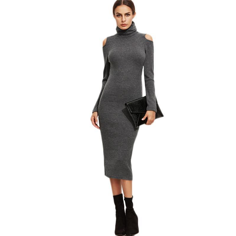 SheIn Grey Sheath Dresses Long Sleeve Cold Shoulder Winter Dress Elegant Ladies High Neck Ribbed Sexy Pencil Dress-Dress-SheSimplyShops
