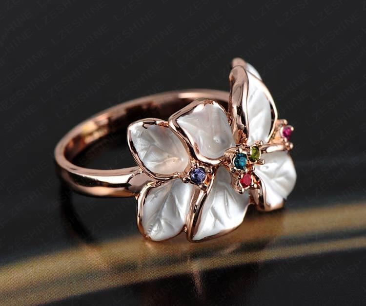 LZESHINE Christmas Jewelry Ring Rose Gold Plated Austrian Crystal White Enamel Flower Ring for Women Ri-HQ1006-JEWELRY-SheSimplyShops