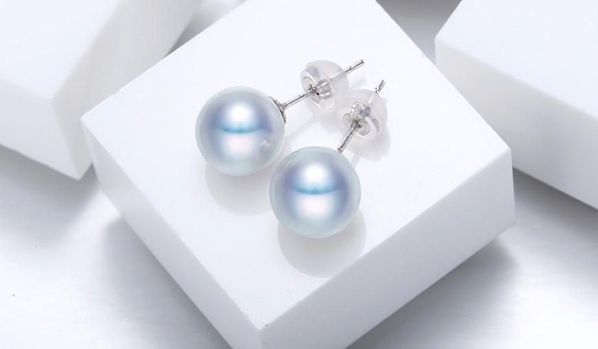 Grey Pearl Earrings White Gold Studs Earrings Fine Jewelry-EARRINGS-SheSimplyShops
