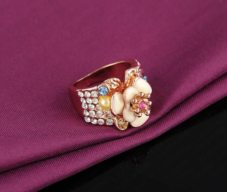 LZESHINE Jewelry Ring Rose Gold Plated Austrian Crystal Enamel Flower Wedding Ring For Women-JEWELRY-SheSimplyShops