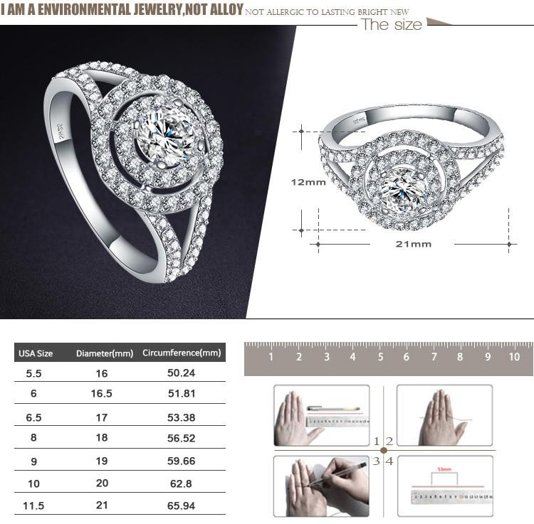 LZESHINE Fashion New Women Round Silver Ring 925 Sterling Best Gift For Women AAA Zircon Engagement Wedding Ring-SheSimplyShops