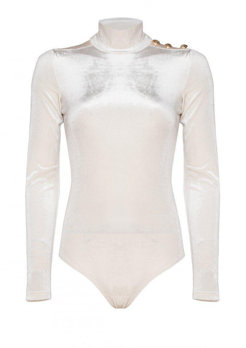 HDY Haoduoyi Solid White Women Bodycon Bodysuits Long Sleeve High Waist Sexy Plasuit For Female High Collar Slim Romper Women-ROMPERS & JUMPSUITS-SheSimplyShops