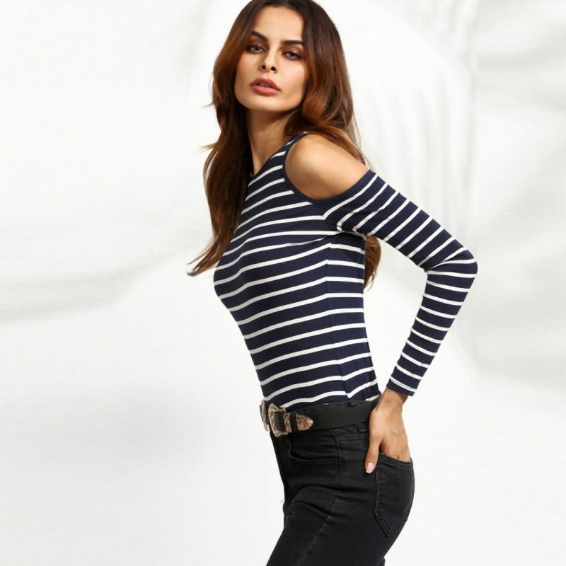 HDY Haoduoyi Stripe Cotton Women Casual T-shirt Long Sleeve Cold Shoulder Crew Neck Tees For Women Basic Slim Women's Top-SHIRTS-SheSimplyShops
