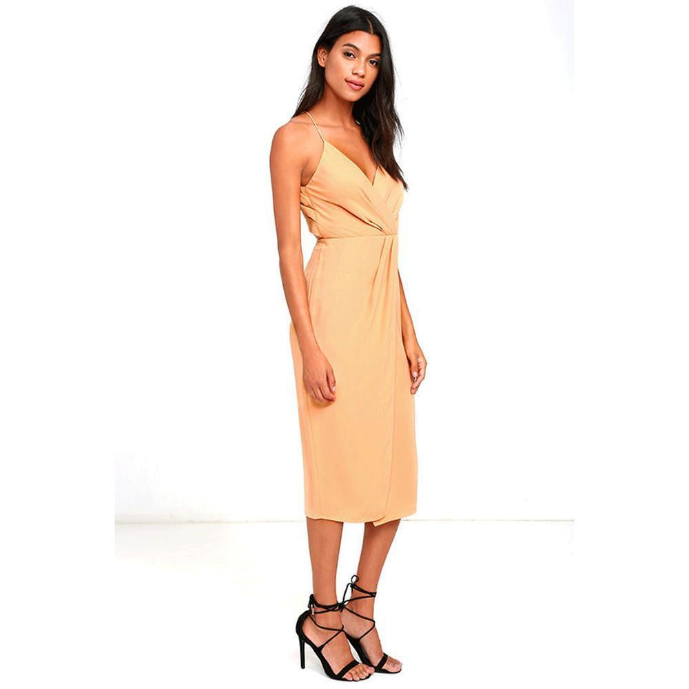 HDY Haoduoyi Solid Color Dress Women Backless Off Shoulder High Waist Midi Dress Sexy Slim Halter Party Club Dress Vestidos-Dress-SheSimplyShops
