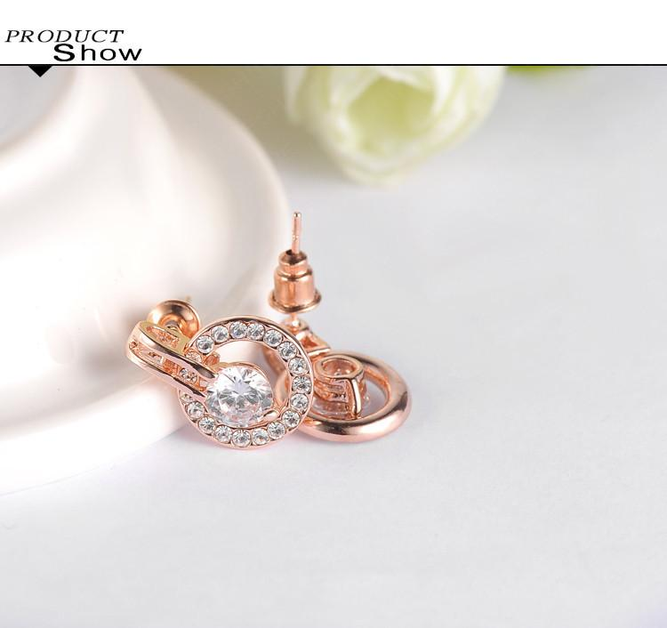 New Wedding Jewelry Sets Rose Gold Plated Necklace/Earring Sets for Women-EARRINGS-SheSimplyShops