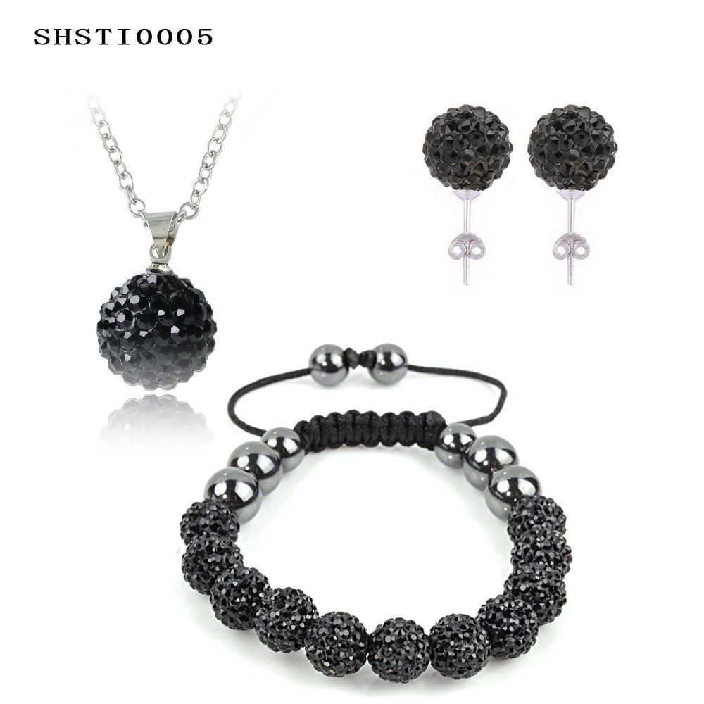 Fashion Crystal Shamballa Set Necklaces & Pendants/Bracelet/Earring Studs Jewelry Set With Disco Balls for Women-EARRINGS-SheSimplyShops
