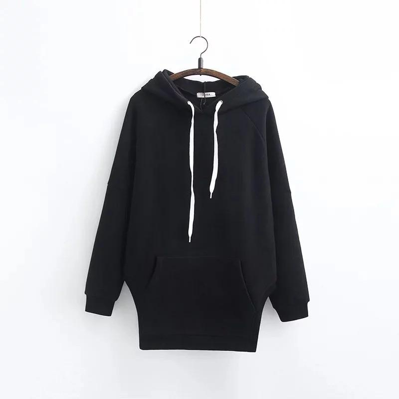 HDY Haoduoyi Fashion Solid Color Women Hoody O-neck Long Sleeve Loose Casual Top Women Pocket Front Split Side Pullovers Hoodies-HOODIES-SheSimplyShops
