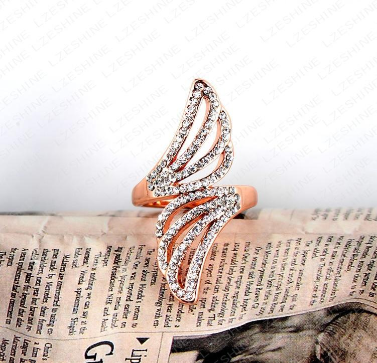 LZESHINE Finger Ring Real Rose Gold Plated Austrian Crystal Angel Wing Engagement Rings Fashion Jewelry-JEWELRY-SheSimplyShops