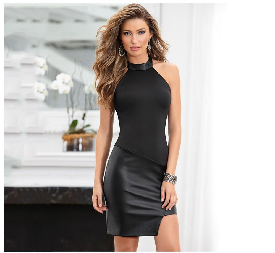 Women Sexy Club Bodycon O Neck Sleeveless Tank PU Leather Dress Black Party Evening Elegant Summer Dress-Dress-SheSimplyShops