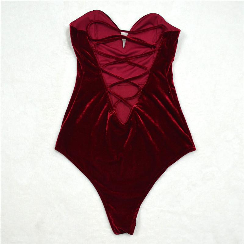 Sexy Lace Up Velvet Strapless Bodysuit-ROMPERS & JUMPSUITS-SheSimplyShops