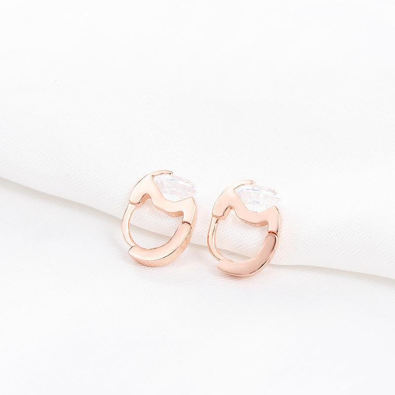 LZESHINE Brand Simple Hoop Earrings Rose Gold Plate Austrian Crystal SWA Elements Nickel Women Earring-EARRINGS-SheSimplyShops