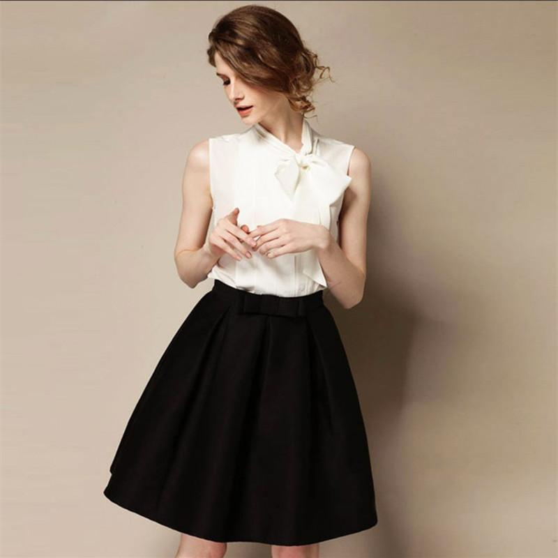 High Quality 2016 New Women's OL Retro Bow Skirts Autumn Winter Fashion Plus Size High Waist Knee-length A-line Skirt Bust Skirt-Dress-SheSimplyShops