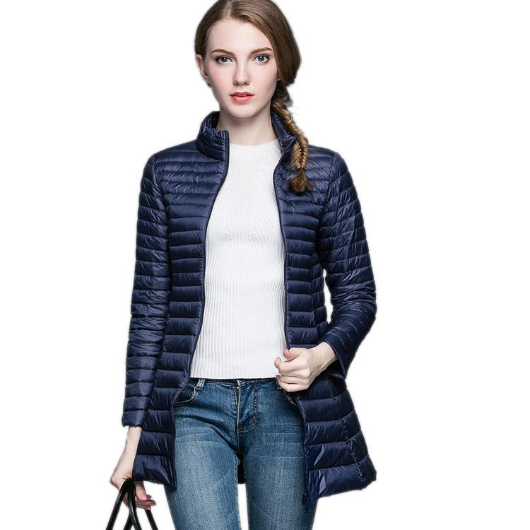 Coat 90% White Duck Down Long Jacket Female Overcoat Ultra Light Slim Solid Jackets Winter Coat Portable Fashion-Coats & Jackets-SheSimplyShops