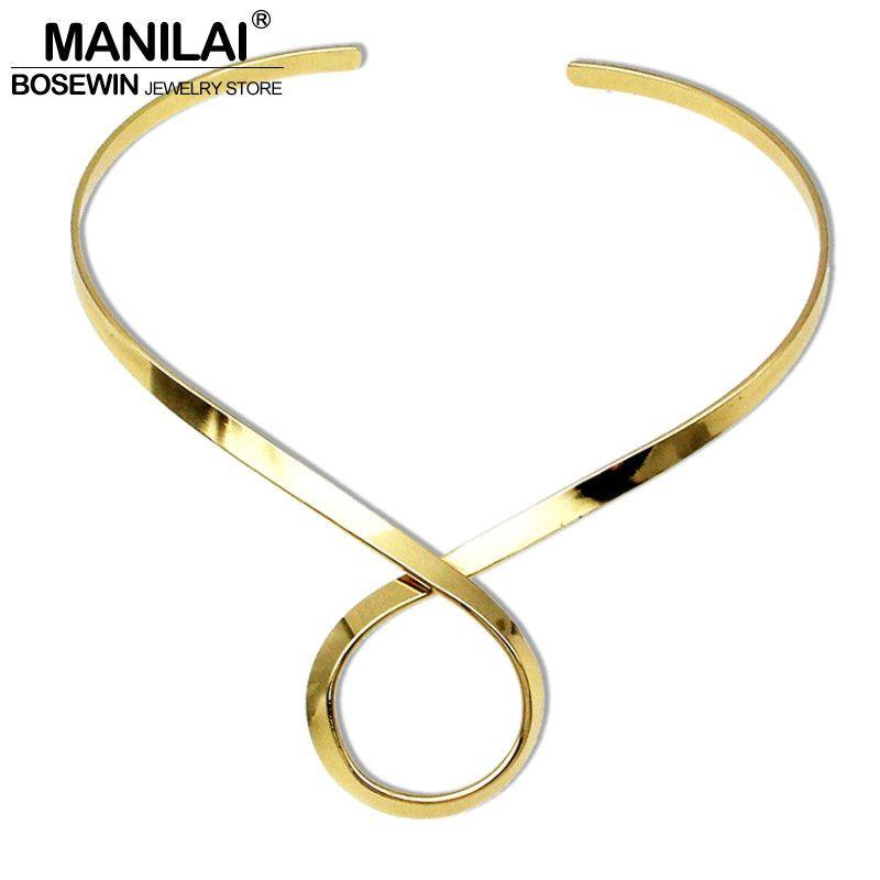 Chic Alloy Choker Necklace For Women Fashion Torques Bib Collar Simple Necklaces Maxi Jewelry Accessories-Maxi-SheSimplyShops