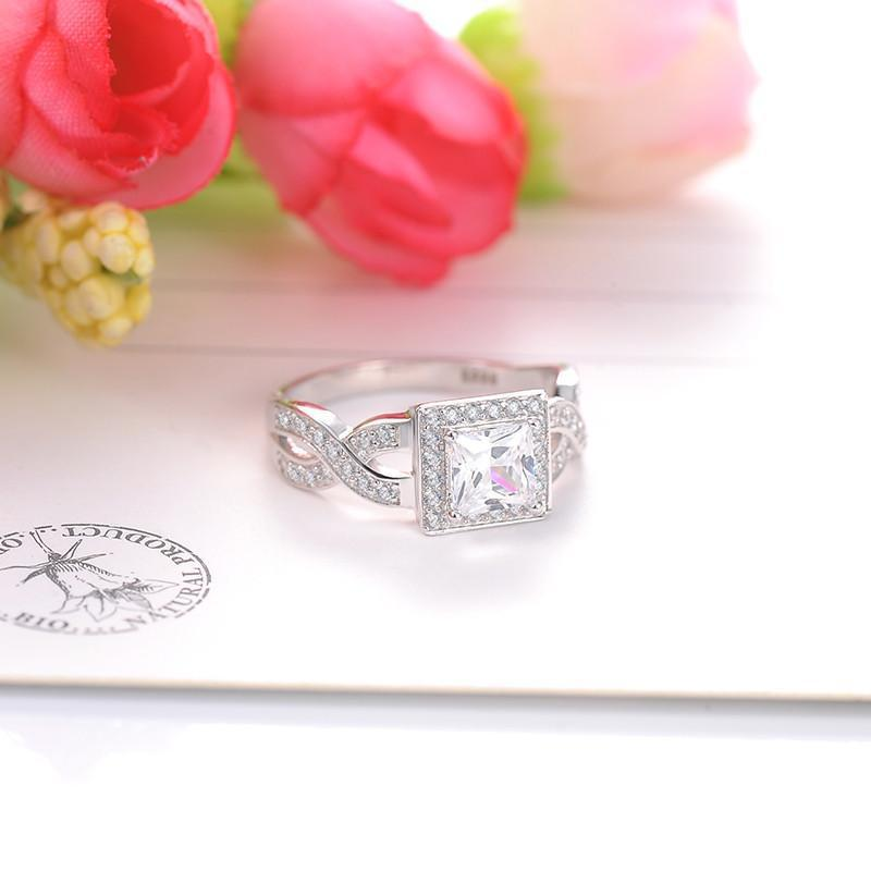 LZESHINE New Square Solid 925 Sterling Silver Romantic Classic Ring Brincos AAA Zircon Women Rings SRI0007-B-SheSimplyShops