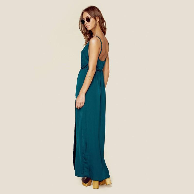 HDY Haoduoyi Women New Sexy Deep V Neck Fashion Side Split Spaghetti Strap Beach Party Maxi Sleeveless Chiffon Dresses-Dress-SheSimplyShops