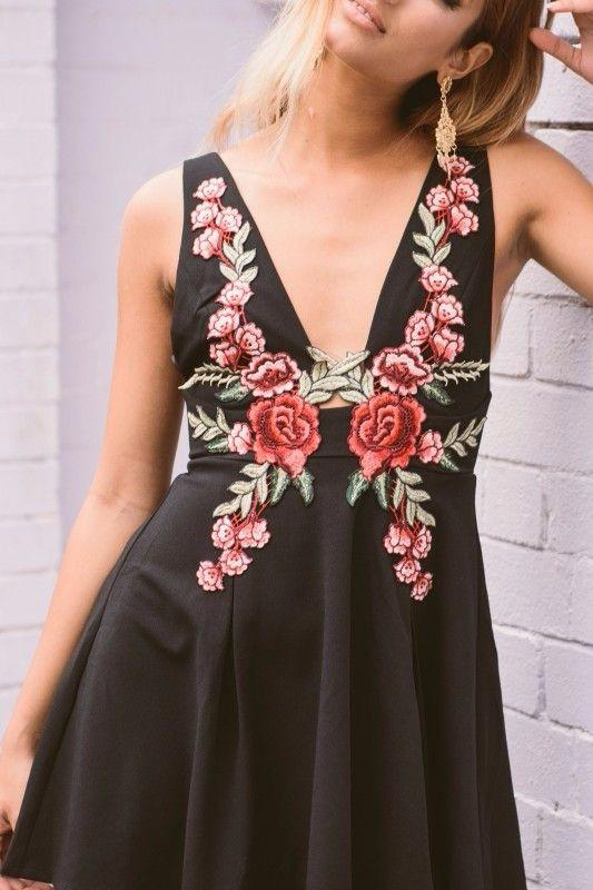 Black Rose Embroidery Plunge Neck A-line Dress Braces Zipper Backless Mini Dress Sexy Off Shoulder Women Dress-Dress-SheSimplyShops