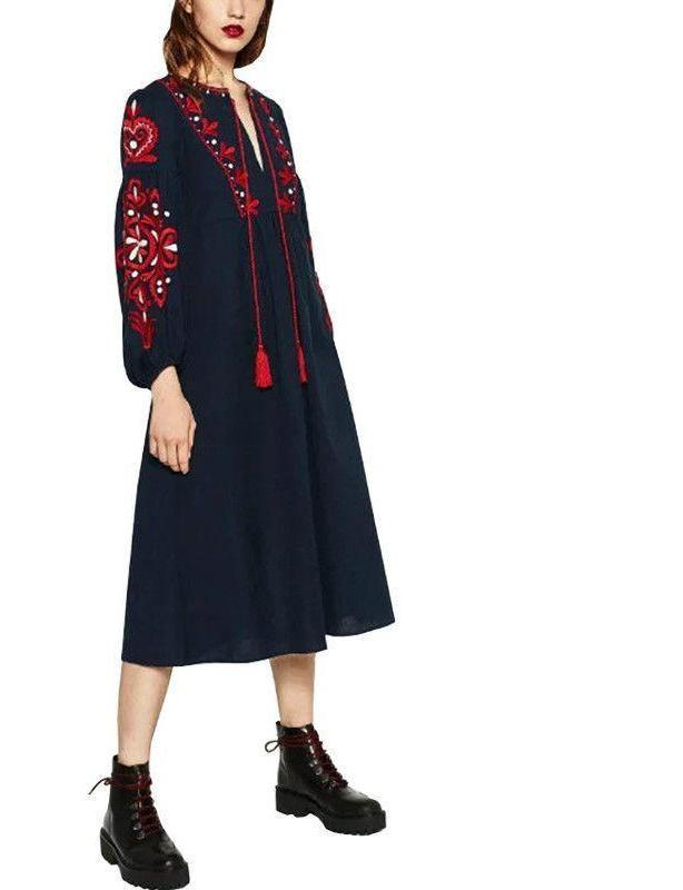Bella Philosophy autumn winter retro folk-custom embroidery tassels bowknot embroidered lantern sleeves long-sleeved dress-Dress-SheSimplyShops