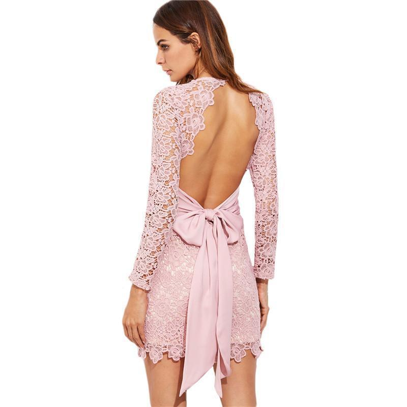 Embroidered Lace Open Back Bodycon Dress-Dress-SheSimplyShops