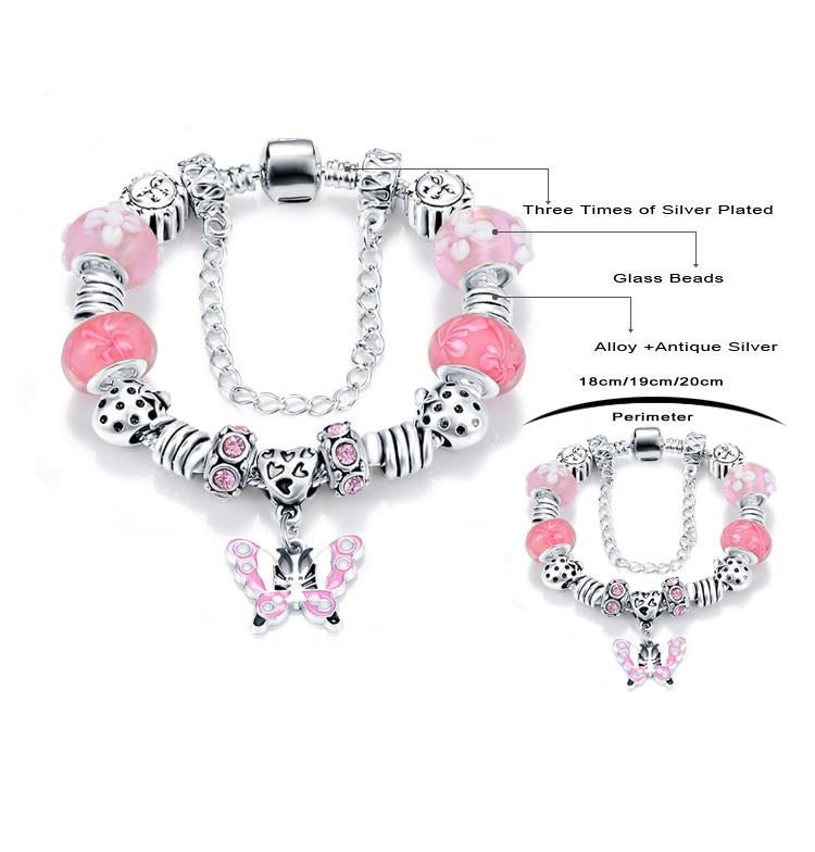 Top Quality European 5 Colors Love Charms Jewelry With New Murano Glass Beads Fit Charms Style Bracelet-BRACELETS-SheSimplyShops