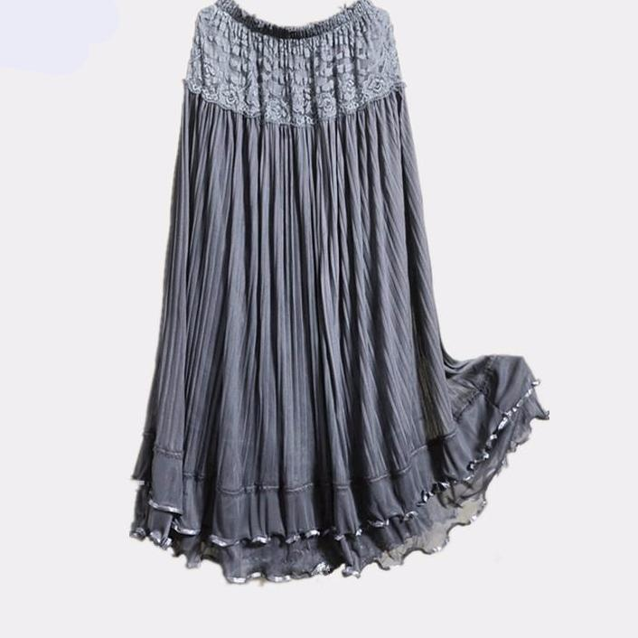 Long Lace Tulle Gauze Elegant Beach Maxi Skirts-Dress-SheSimplyShops