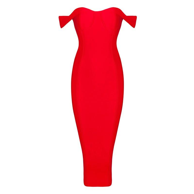 sexy off shoulder bodycon knee-length evening party bandage Dress-Dress-SheSimplyShops