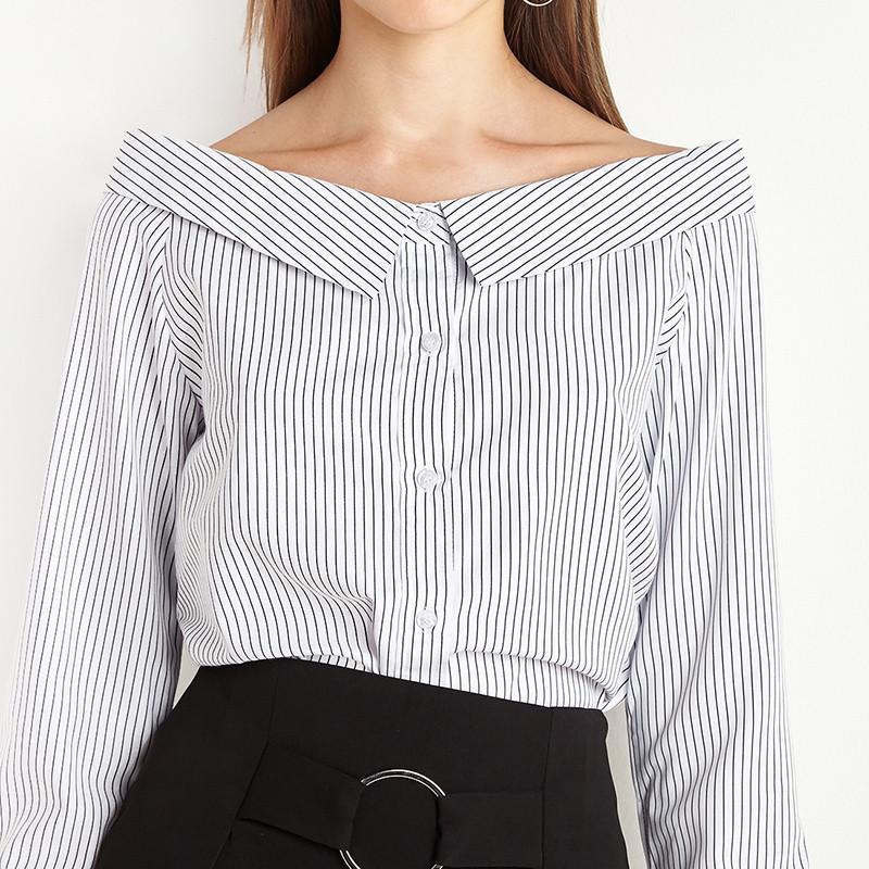 HDY Haoduoyi Stripe Single Breasted 97% Cotton Blouse Natural Slash Neck Casual Shirt Solid Slim Off Shoulder Women Tops-Blouse-SheSimplyShops