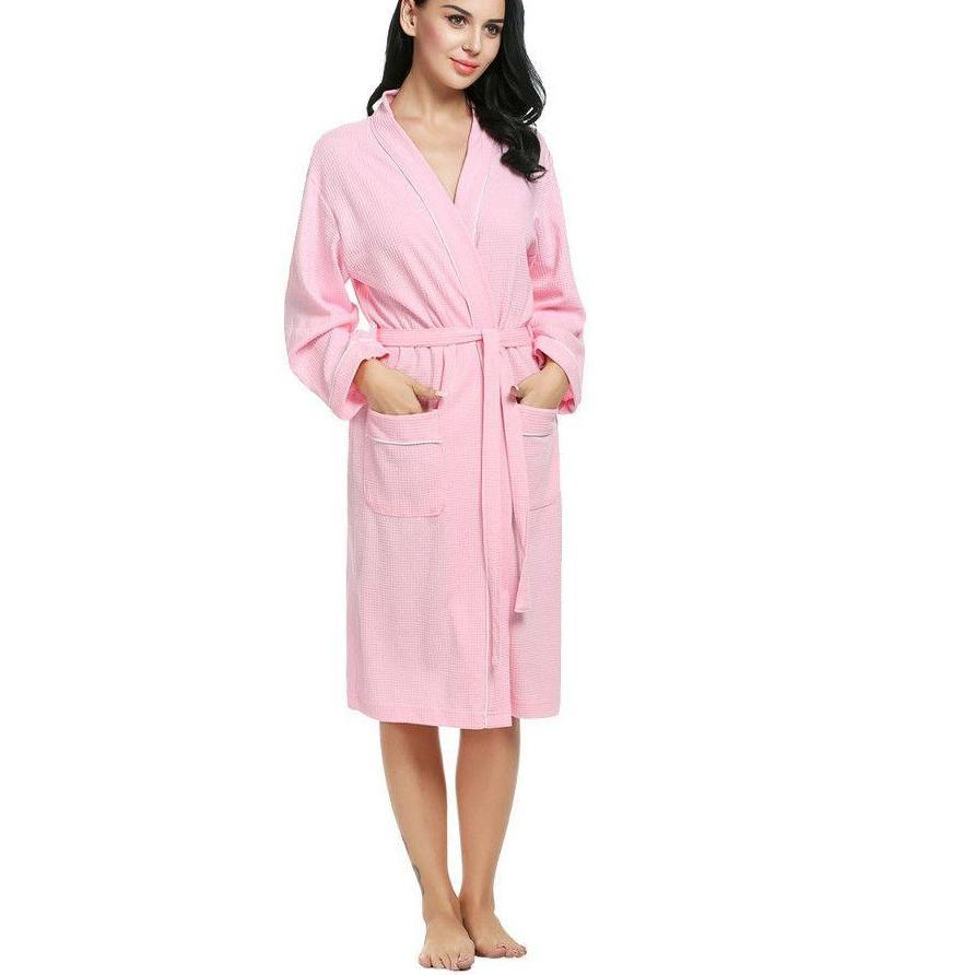 Cotton Women Bathrobes Wedding Bridal Kimono Long Sleeve Waffle-Weave Lady Spa Night Dress Sleepwear-Dress-SheSimplyShops